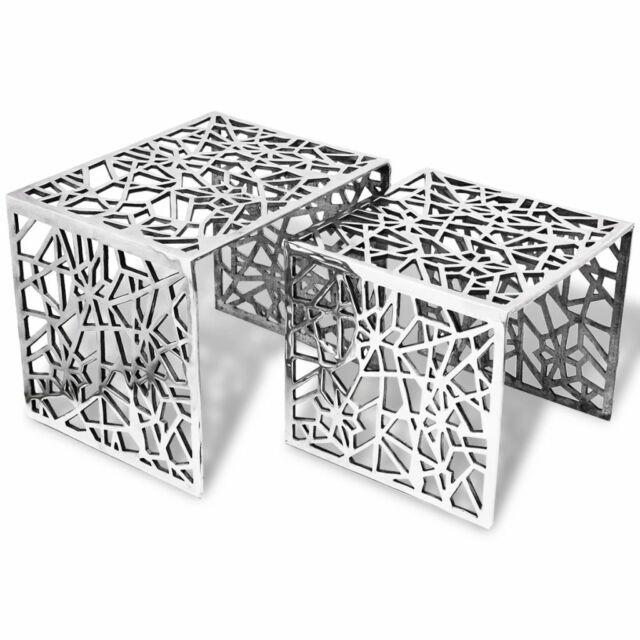 vidaXL Set 2 Tavolini Salotto Soggiorno ad Incastro Quadrati Alluminio Argento