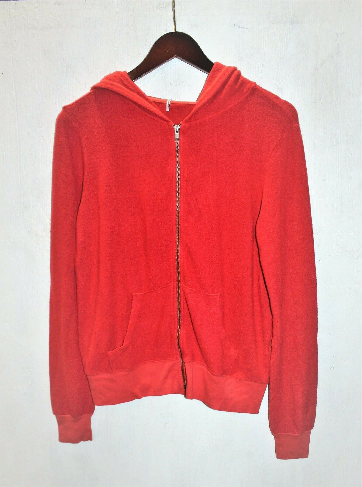 Wildfox Women's Hoodie Sweatshirt Basic Zip Baggy Beach Jumper Solid Red. Sz  S