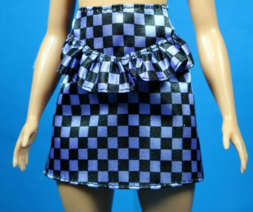 Barbie Fashionista Black Purple Check Print Skirt ORIGINAL PETITE CURVY TALL