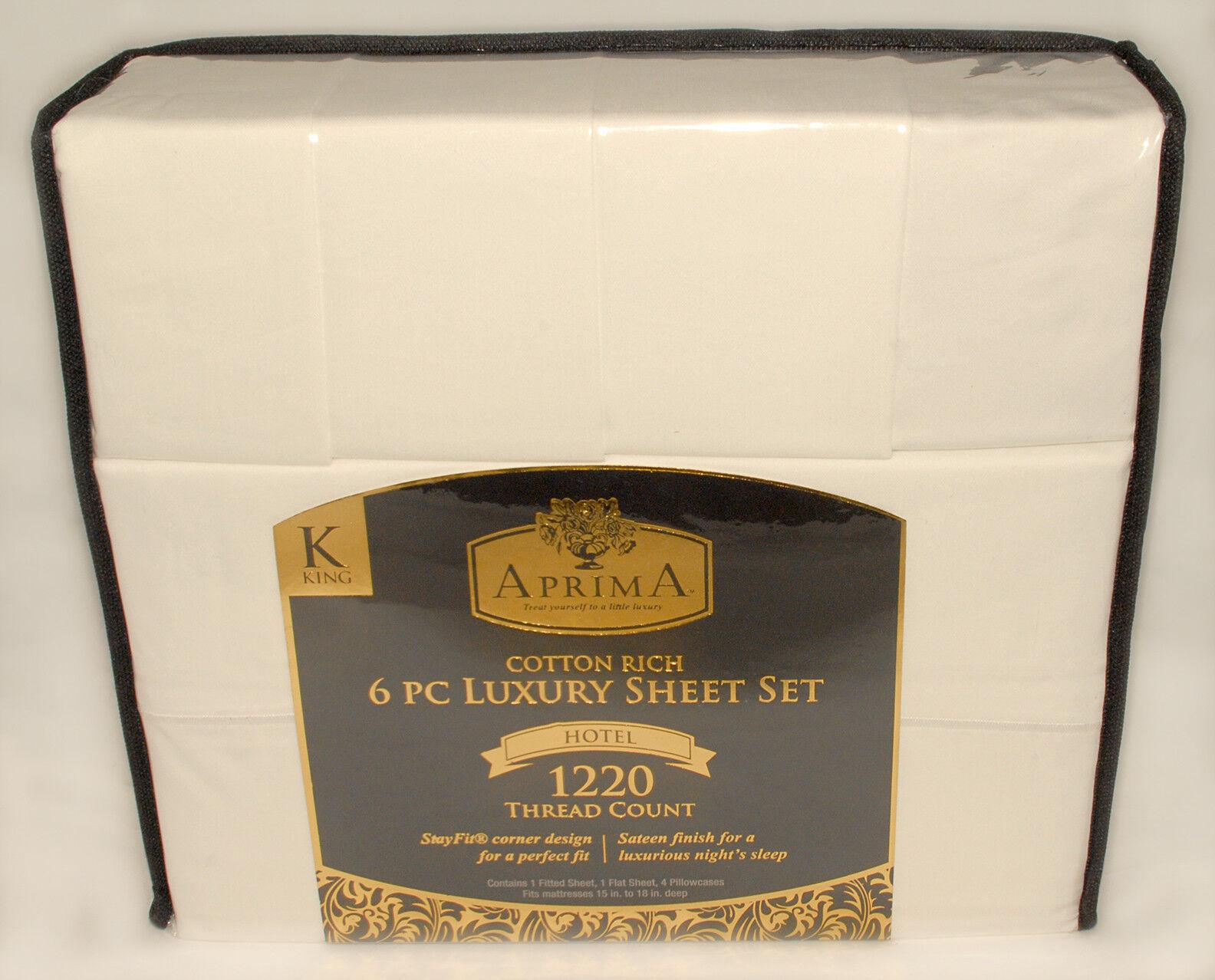APRIMA - 6  pc White - 1220 THREAD COUNT LUXURIOUS King SHEET SET + BONUS  NEW