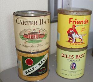 Lot of 4 Tobacco tins, Carter, Dills Best, Half& Half, Friends