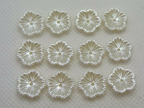 200 Ivory Acrylic Pearl Flower Bead Cap Beads 12mm Sewing Bow Center