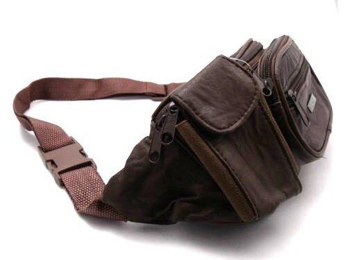 Homme femme super doux cuir bum sac argent porte-vacances ceinture sac