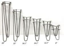 "Hairpin Metal table legs, 4"" - 28"", hairpin legs, PRICE PER SET, Raw steel, 10mm"
