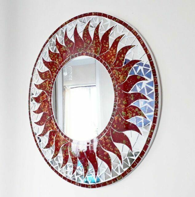 Round Red Mosaic Sun Design Wall Mirror, Red Round Mirror