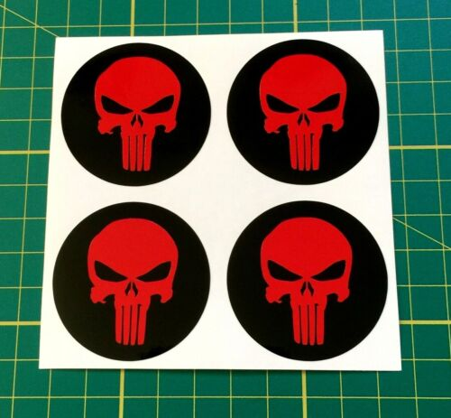 4 x 40mm Alloy Wheel stickers Punisher Red and Black center badge trim cap