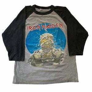 Vintage-Iron-Maiden-034-World-Slavery-034-Raglan-T-Shirt-Sz-M-Metallica-Tour-Concert