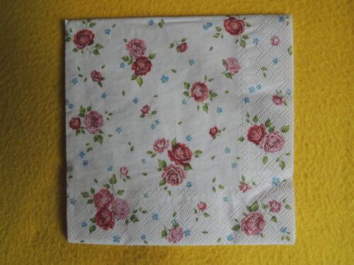 6 unidades pequeñas servilletas rositas rosas rosa Rosalie serviettentechnik cócteles