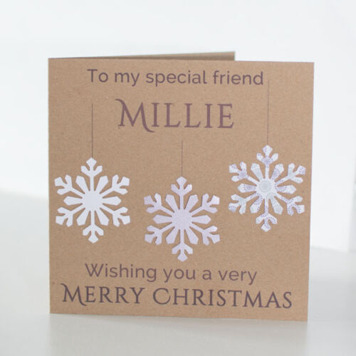 Snowflake Best Friend Card. Personalised Handmade Special Friend Christmas Card