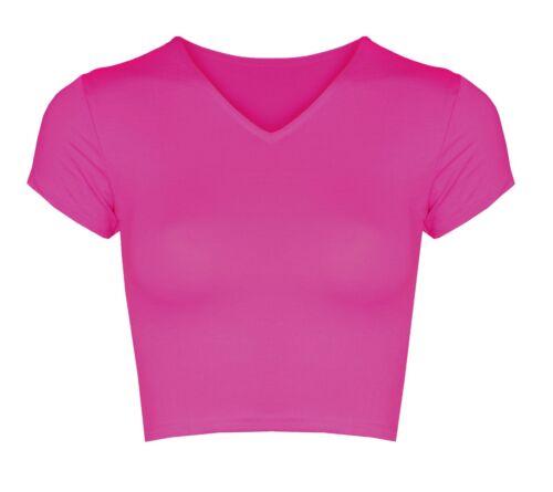 Femme Femmes v-Cou court à mancherons Crop Top T-shirt Débardeur Stretch Plain