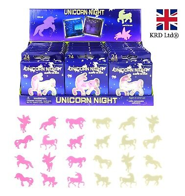 UNICORN GLOW IN THE DARK STICKERS Ceiling Wall Girls Room Decor Party Bag Filler