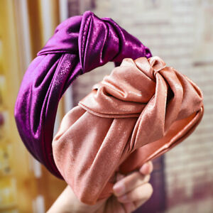 Silk-Wide-Headband-Knotted-Head-Hairbands-Turban-Women-Girls-Hair-Accessories