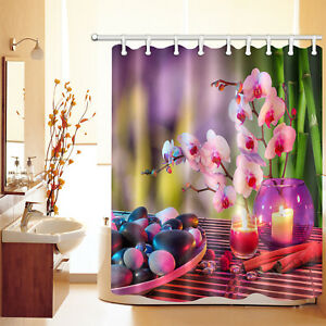 72x72 Candle Flower Bathroom Waterproof Shower Curtain Spa Zen