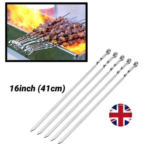 "Long Metal Heavy Duty 16/"" BBQ viande Grill Kebab cuisine Brochettes Rotatif Sticks"