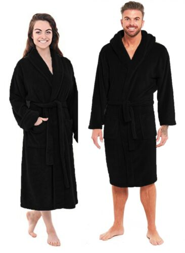 New Soft Black Fleece Dressing Gown Hooded Pockets Bath Robe Unisex Womens Mens