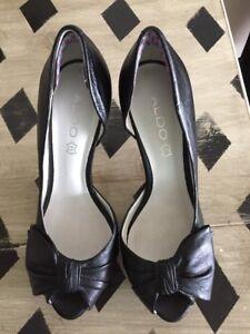 5d397dbe73 Aldo Womens Shoes Size 8.5 US 39 EU 4 Inch Heels Peep Pumps Black ...