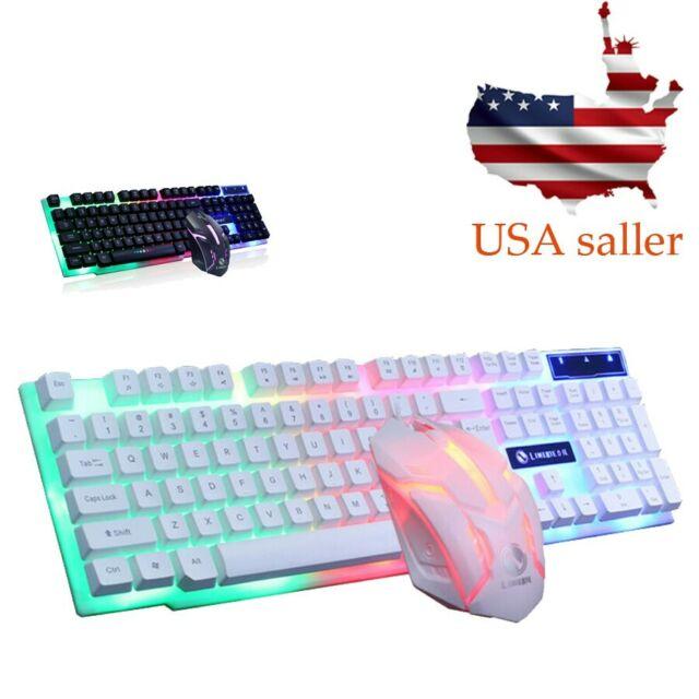 USA USB Wired Illuminated LED Backlight Multimedia Gaming Keyboard Mouse Set