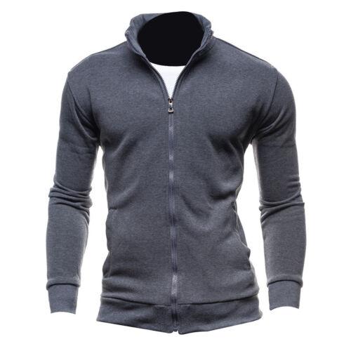 Men Casual Zip up Sports Hooded Jacket Sweater Pullover Winter Warm Outwear Coat
