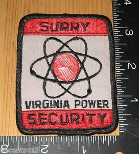 Surry Virginia Power Security Red, White, & Black Cloth Patch Only