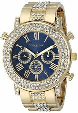 NEW Vernier Paris VNRP11184YG Womens Large Blue Dial Bling Bezel Gold Link Watch