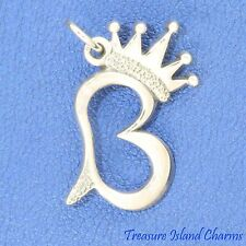 QUEEN B WITH CROWN AND STINGER .925 Sterling Silver Charm Pendant LETTER BEE