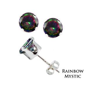 Sterling-Silver-Round-Rainbow-Mystic-Topaz-CZ-Stud-Earrings-4mm-5mm-6mm-7mm-8mm