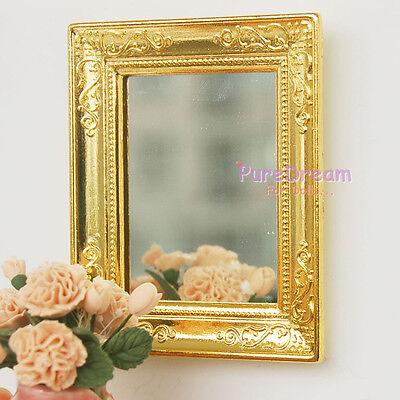 1:12 Dollhouse Miniature Gold Framed Mirror Width 5.5cm,Height 6.5CM