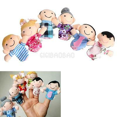 6Pcs Family Finger Puppets Cloth Doll Baby Educational Hand Toys Story Kids New