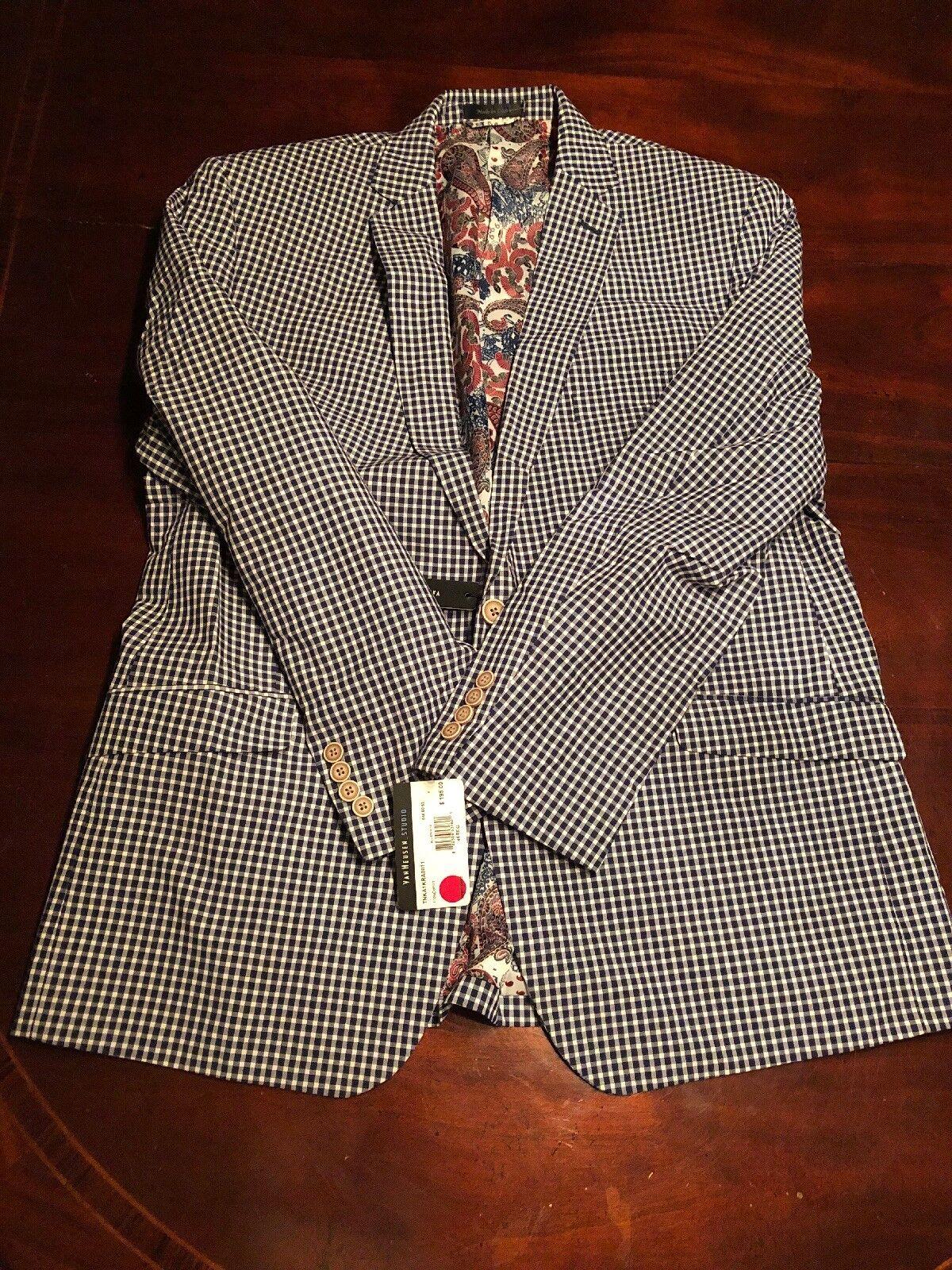 Van Heusen Men's (48) bluee And White Plaid Blazer Suit. TL8