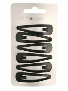 Black-enamelled-hair-clips-Pk-of-6-metal-hair-slides-snaps-sleepies-bendies