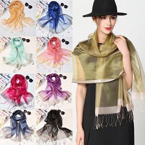 Women-Lady-100-Silk-Scarf-Organza-Solid-Tassel-Soft-Long-Shawl-Wrap-Scarves-New