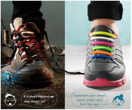 Plus Size Easy No Tie Shoelaces Elastic Silicone Trainer Canvas Sport Shoe Lace