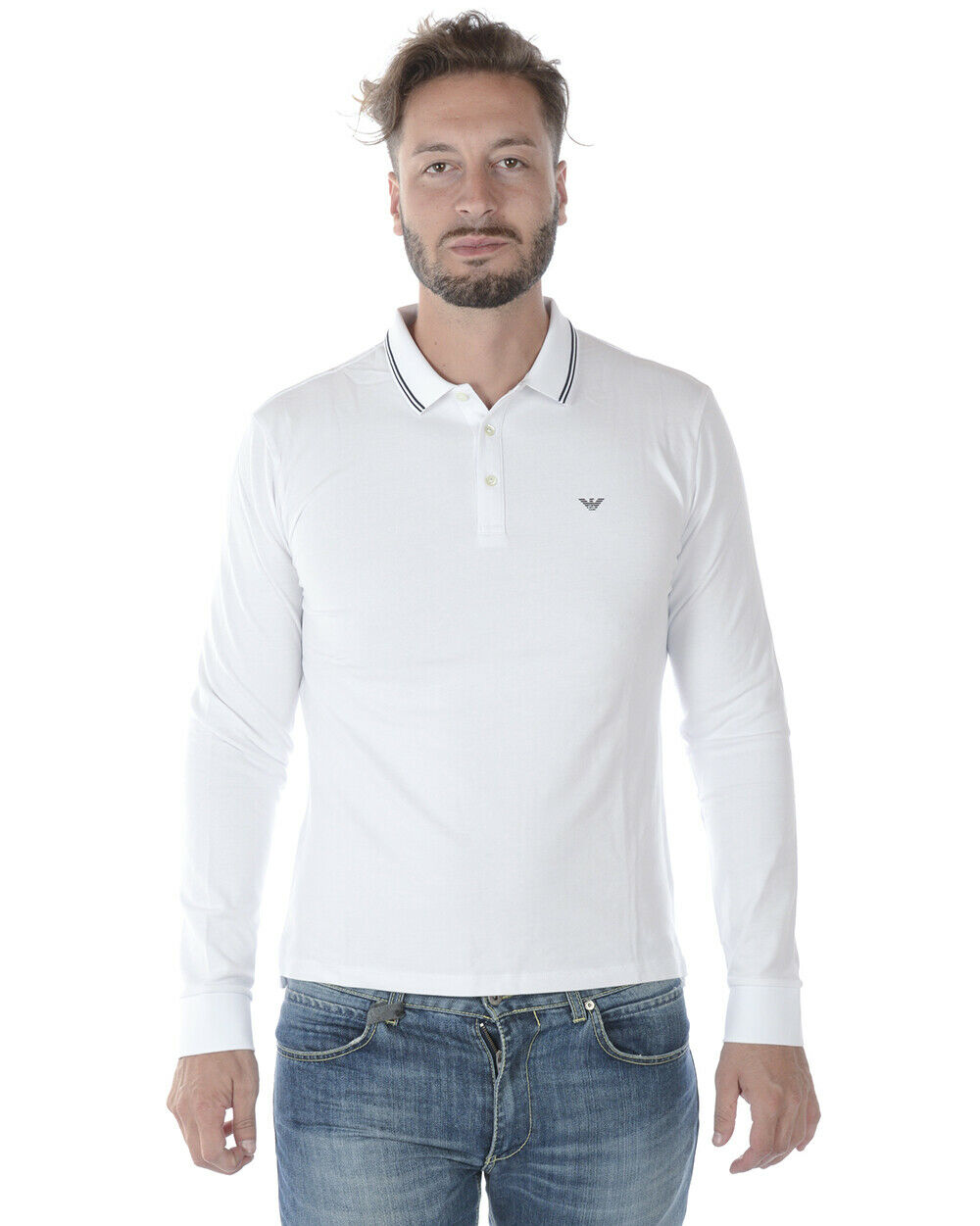Emporio Armani Polo Shirt Cotton Man White 8N1F361JPTZ 100 Sz.M MAKE OFFER