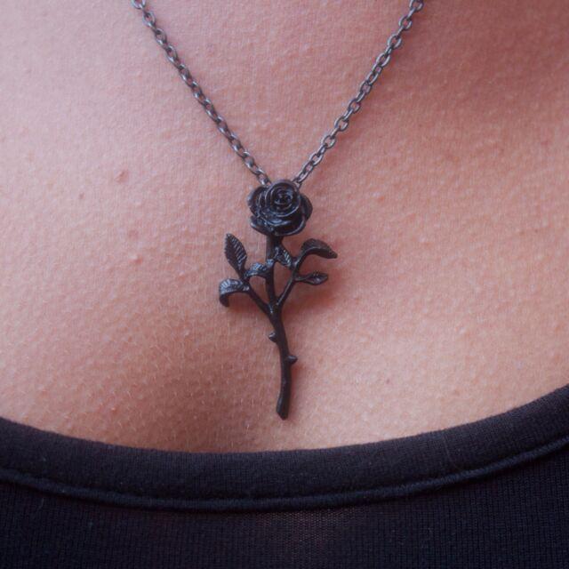 GENUINE Alchemy Gothic Pendant - The Romance Of The Black Rose | Ladies Necklace