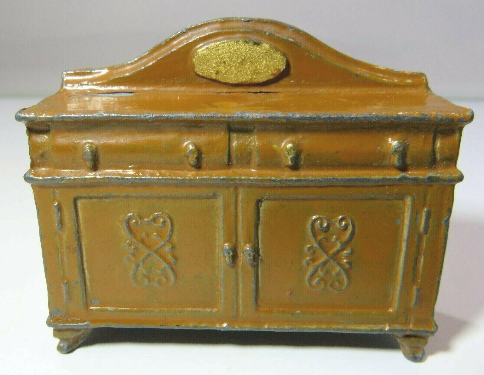 Vintage Dolls House Miniature Metal Hollowcast Sideboard Dresser Cupboard
