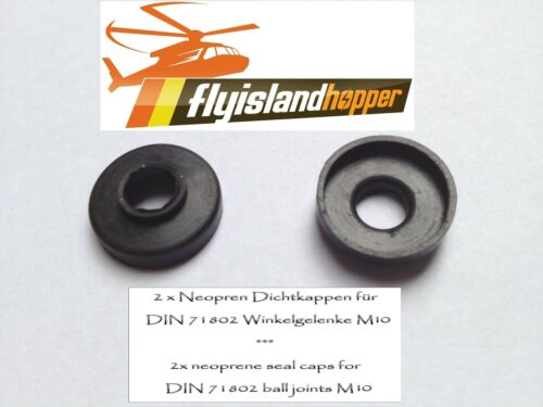 2 x Dichtung / Neopren Dichtkappe für M10 Kugelgelenk / Winkelgelenk DIN 71802