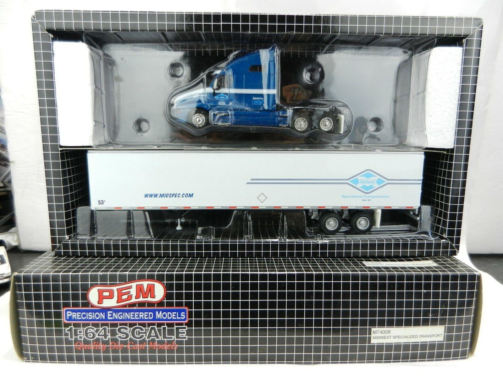 1 64  Transporte Pem  Midwest especializado Kenworth Dry Goods de remolque M74008 Nuevo En Caja