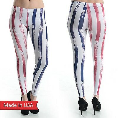 NEW American Flag Color Blue Red Stripe Weathered Print Leggings Tight Pants USA