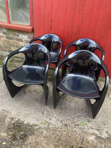 DWELL - Vintage Style 4 x Shiny Black Chairs
