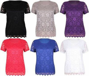 New-Womens-Plus-Size-Short-Sleeve-Floral-Lace-Lined-Top-T-Shirt-12-26