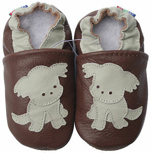 137f42970c38f Details about carozoo puppy dark brown 6-12m soft sole leather baby shoes
