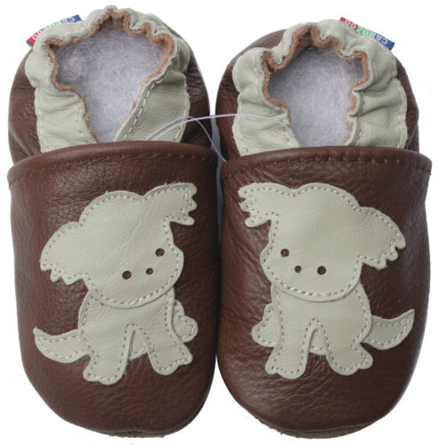 carozoo puppy dark brown 6-12m soft sole leather baby shoes