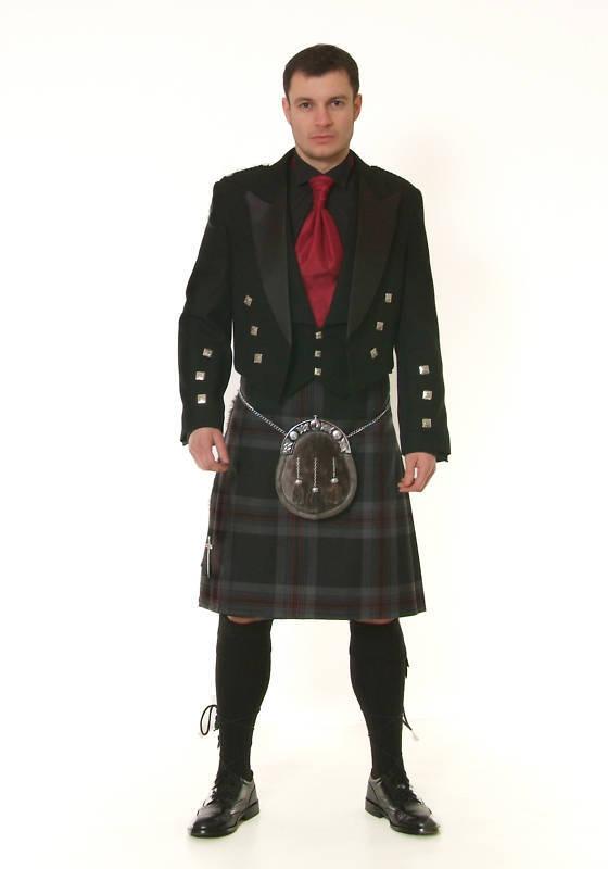Black Prince Charlie Kilt Jacket & Vest Waistcoat Set 100% Wool Ex Hire