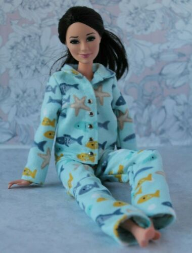 №328 Clothes for Barbie Doll Flannel Pajamas for Dolls.
