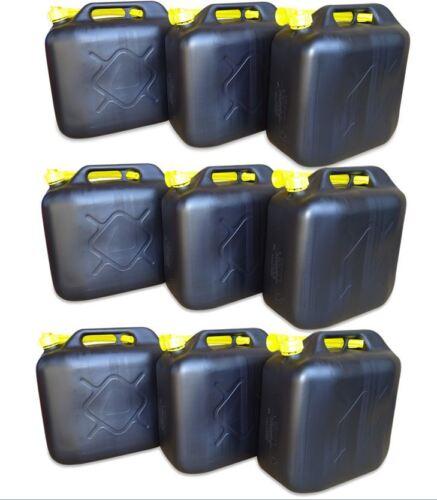 9 x 20 L Kraftstoffkanister Benzinkanister Reservetank UN-Nummer schwarz