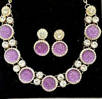 Beautiful Purple Round Chunky Diamante Crystal Necklace, Bracelet, Earrings set