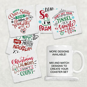 Christmas Coasters Quotes Elf Snowman Holly Mistletoe ...