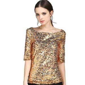 buy popular 15e20 bb3fa Details zu Damen Pailletten Glitzer Hemd Kurzärmel Locker Baggy Bluse  Oberteil Übergröße