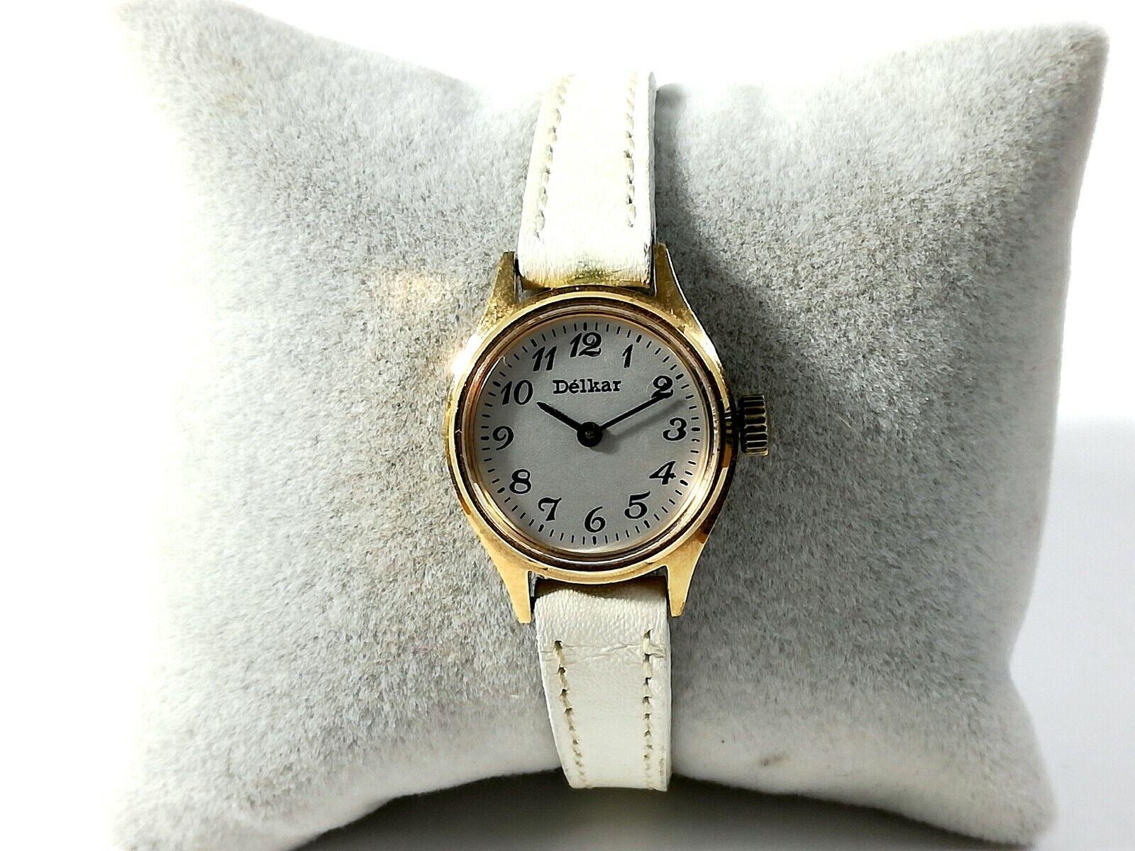 Reloj pulsera mujer DELKAR de cuerda 40039 Original Vintage funciona cal FE...