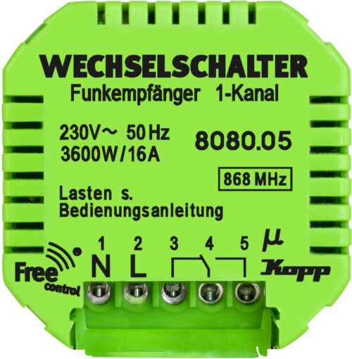Kopp Free-control® Funk-Empfänger 1 Kanal/5-Draht Unterputz Wechselkontakt NEU